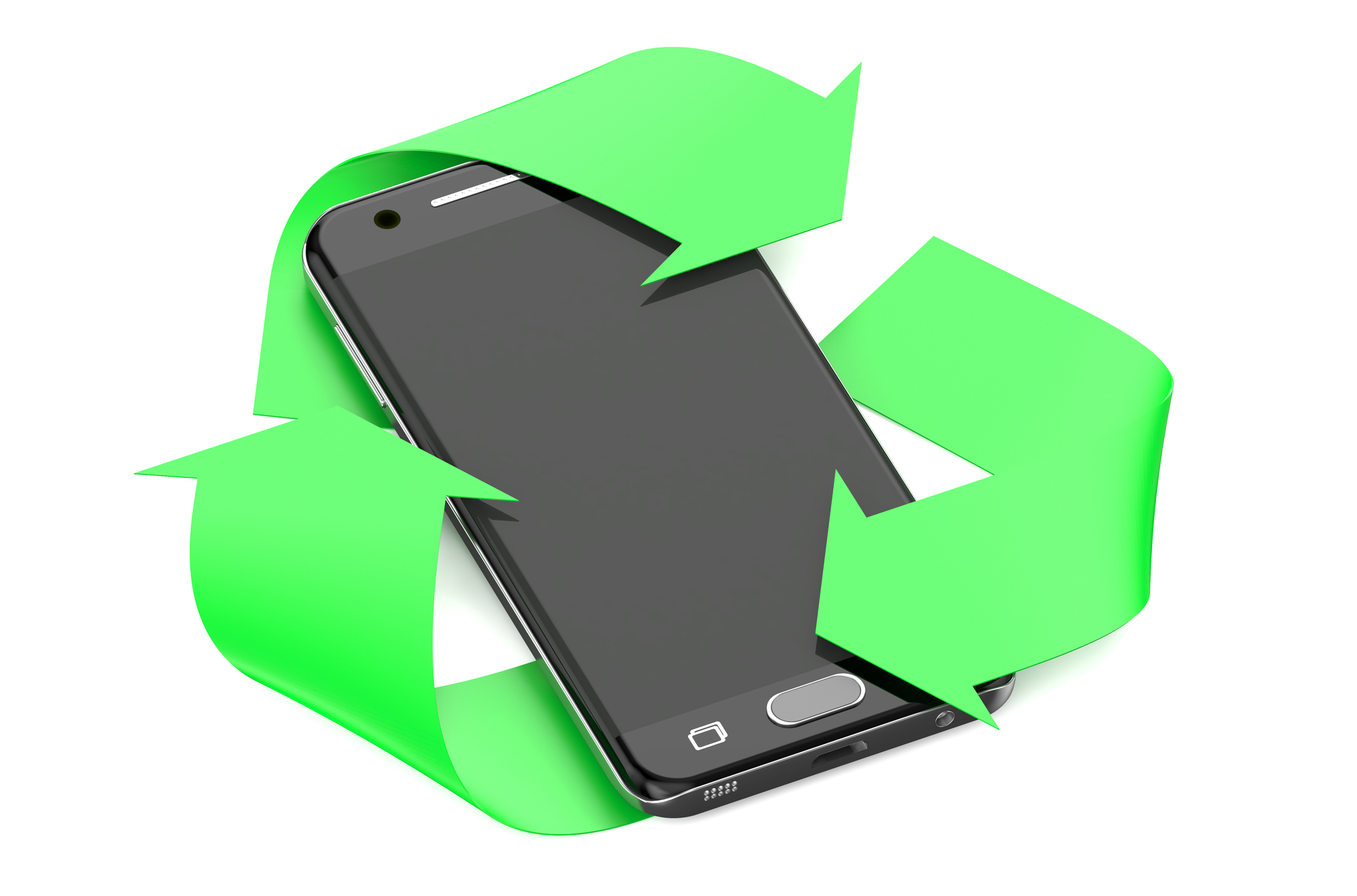 smartphone with symbol recycle isolated on white background