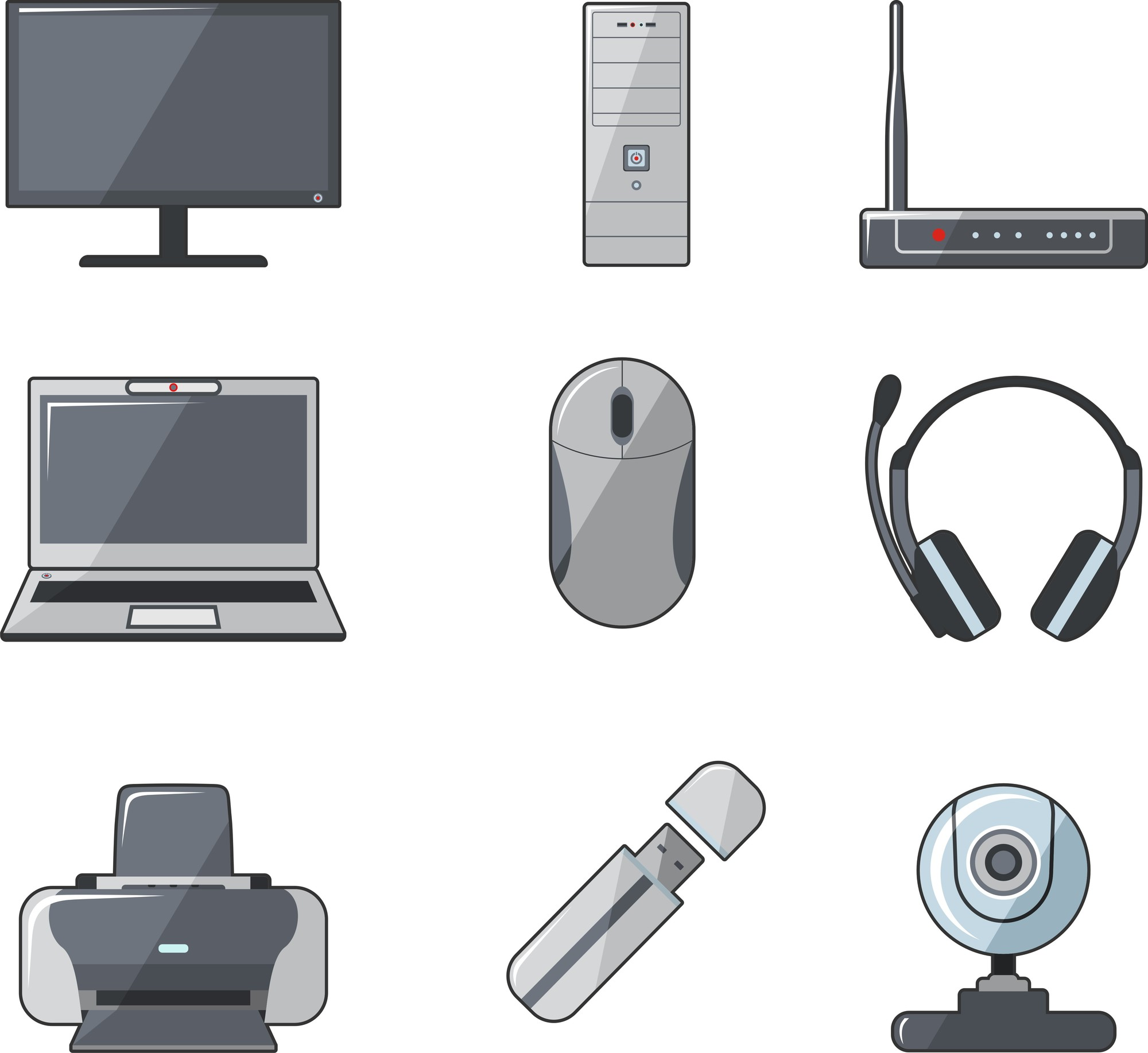 Set of digital devices and tools in flat style
