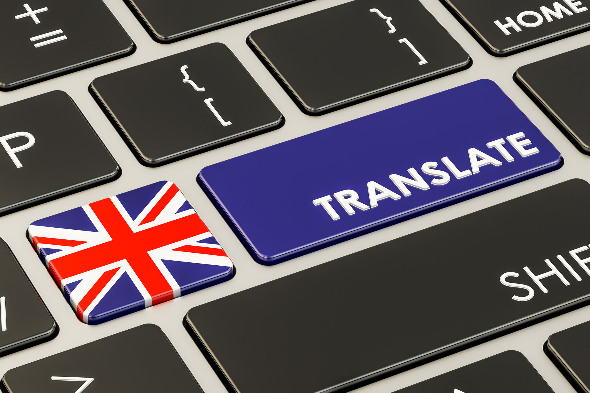 Translate concept on keyboard with British flag, 3D rendering