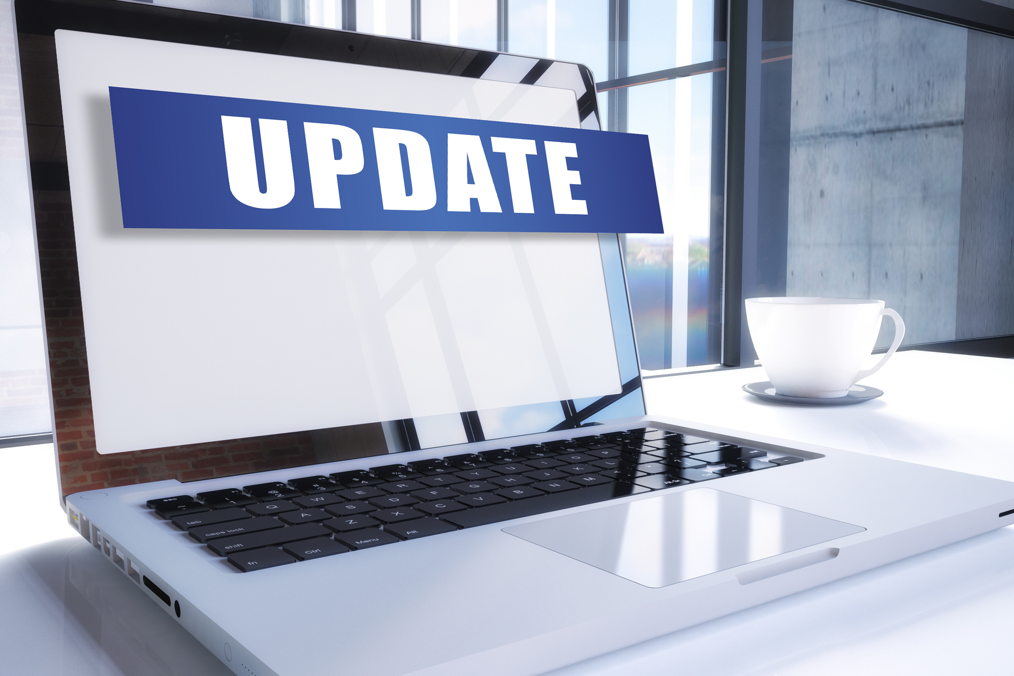 Update text on modern laptop screen in office environment. 3D render illustration business text concept.