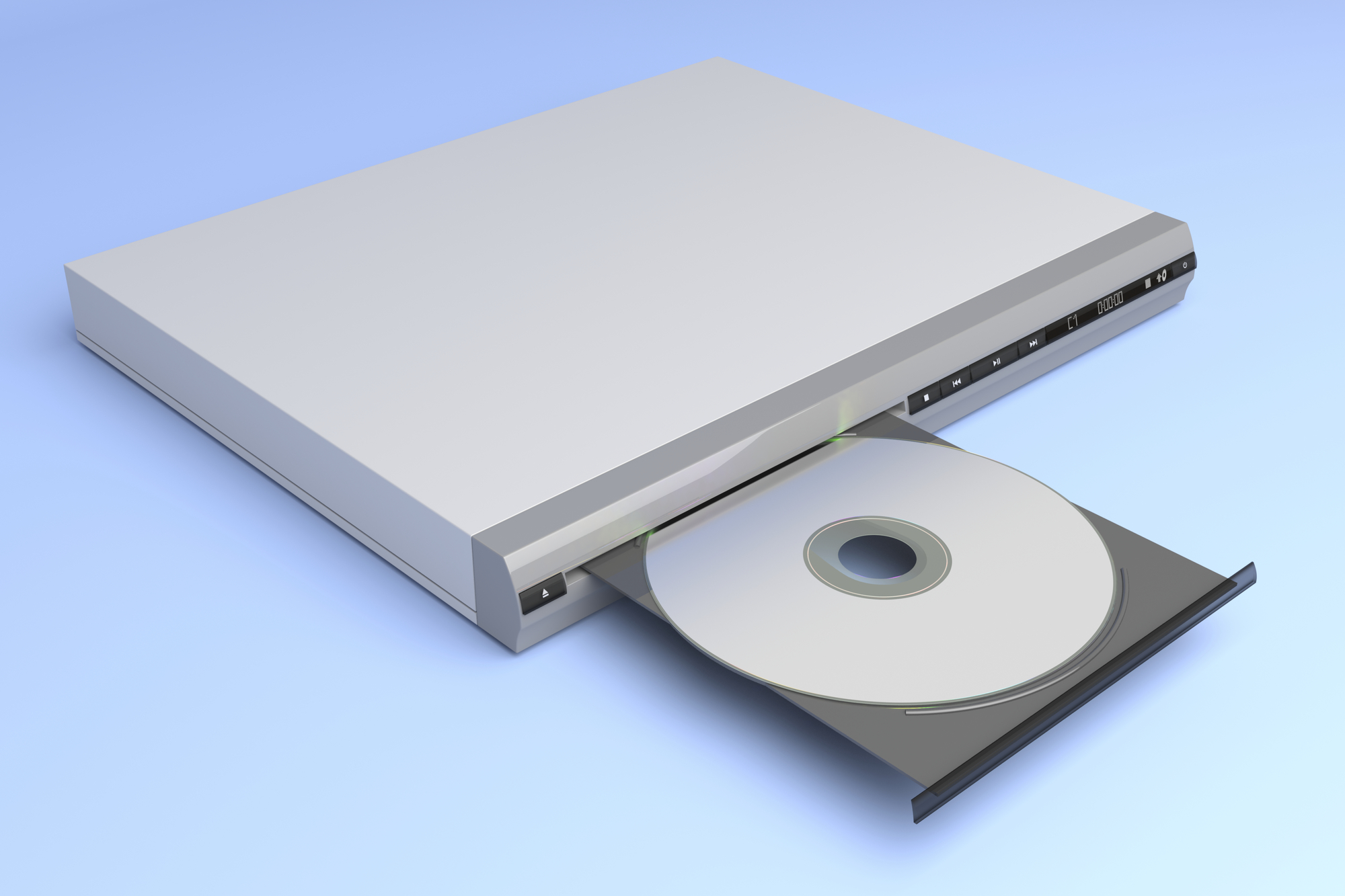 CD player with open tray on blue background
